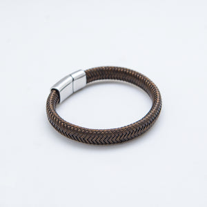 LEATHER BRACELET WIRE BROWN