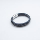 LEATHER BRACELET WOVEN WIDE BLACK