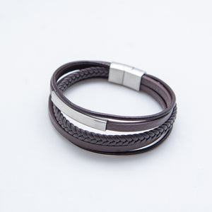 BROWN SILVER PLATE LEATHER BRACELET