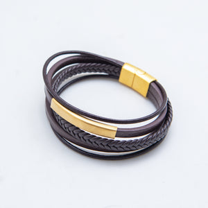 BROWN GOLD PLATE LEATHER BRACELET