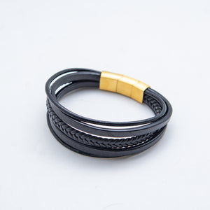 BLACK GOLD CLASP LEATHER BRACELET