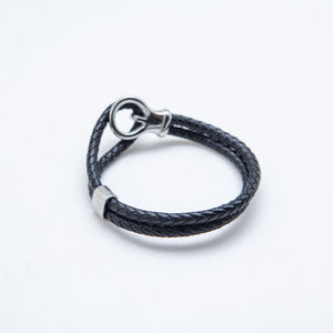 DOUBLE LOOP BLACK LEATHER BRACELET
