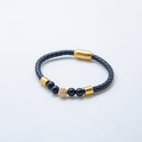 SILVER GOLD ONYX LEATHER BRACELET