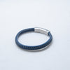 LEATHER BRACELET WOVEN SMALL BLUE