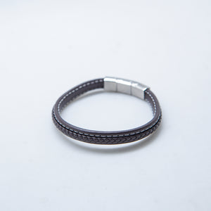 LEATHER BRACELET WOVEN SMALL BROWN