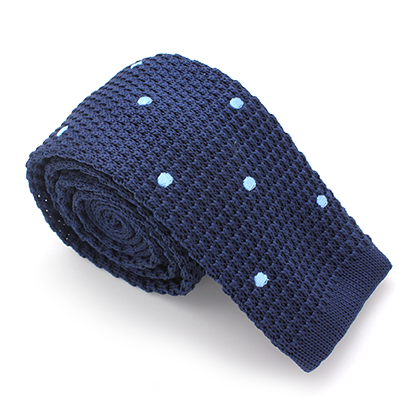 KNIT SKINNY TIE BLUE WITH BLUE POLKADOT