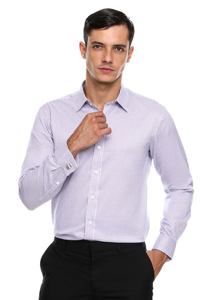 FRENCH CUFF BLUE PURPLE CHECKERED SHIRT