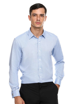 FRENCH CUFF BLUE PATTERN SHIRT