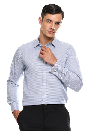 FRENCH CUFF HOUNDSTOOTH BLUE SHIRT