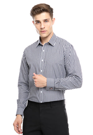 FRENCH CUFF BLACK CHECKERED SHIRT