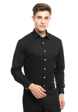 FRENCH CUFF BLACK SHIRT