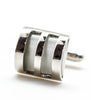 White Cat Eye Silver Cufflinks