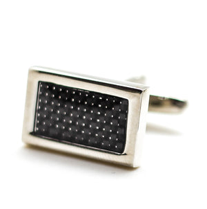 Black Pattern Silver Cufflinks