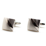 Two Tone Diagonal Stripe Cufflinks