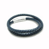 DOUBLE LOOP BLUE LEATHER BRACELET