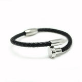 NAIL BLACK LEATHER BRACELET