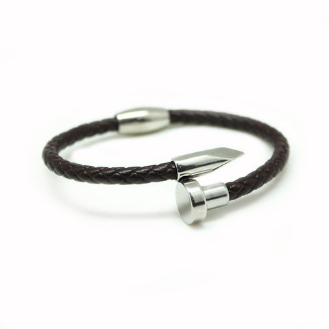 NAIL BROWN LEATHER BRACELET