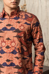 BATIK DOBBY SILK KOMBINASI ORANGE