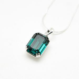 SWAROVSKI BIG RECTANGLE EMERALD NECKLACE