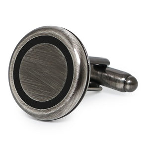 CLASSIC ROUND BLACK RING CUFFLINKS