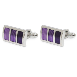 RECTANGLE PURPLE STRIPE CUFFLINKS
