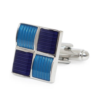 SQUARE BLUE STRIPE CUFFLINKS