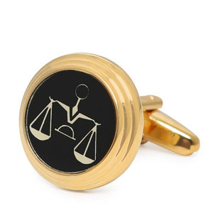 GOLD ROUND SCALES CUFFLINKS