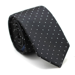 Skinny Tie Black with Polkadot White