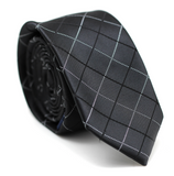 Checkered Skinny Tie Black with Black & White line
