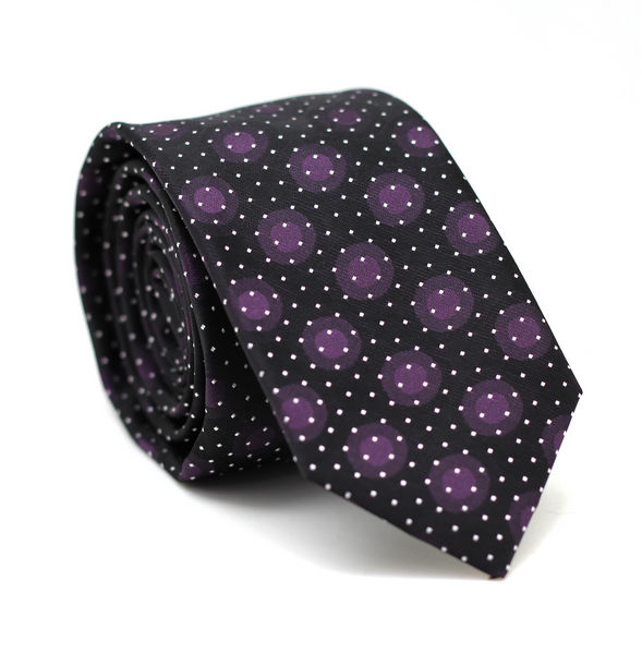 Skinny Tie Black with Polkadot Purple & White