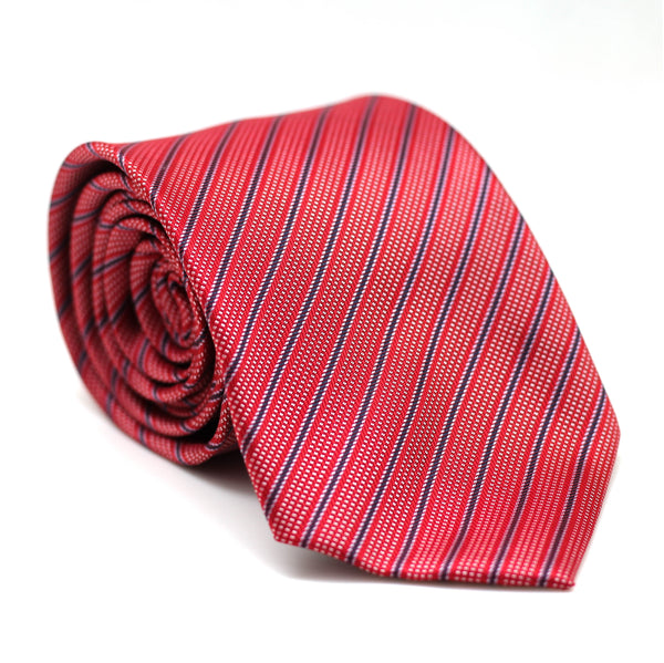 Stripe Regular Tie Red with Blue & White Line