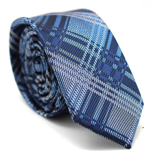 Checkered Skinny Tie Shades of Blue