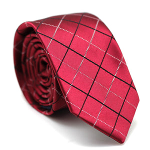 STRIPE SKINNY TIE RED WITH BLACK & WHITE LINE