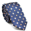 DARK BLUE SKINNY TIE WITH FLOWER