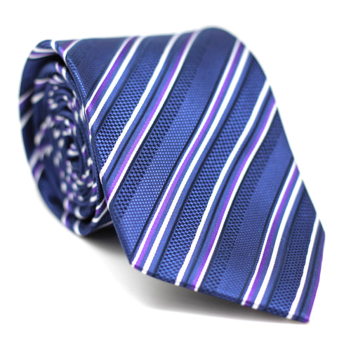 Stripe Regular Tie Blue with Purple & White Line