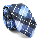 Checkered Skinny Tie Blue with White Line