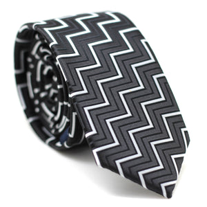 Zig Zag Skinny Tie Black with White