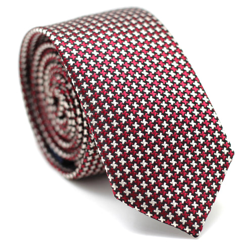 Houndstooth Skinny Tie Red with Black & White