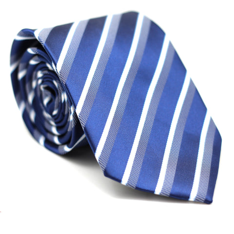 STRIPE REGULAR TIE BLUE WITH WHITE & DARK BLUE LINE