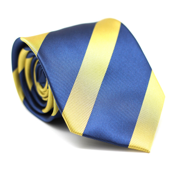 Stripe Regular Tie Blue with Yellow Line