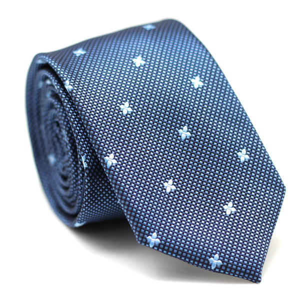 SMALL CHECKERED SKINNY TIE BLUE WITH FLOWERS