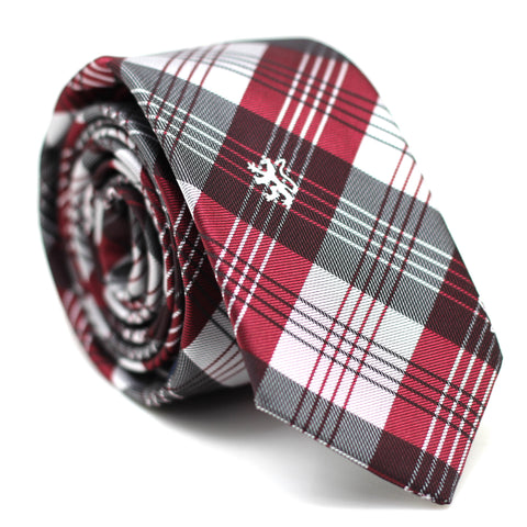 Checkered Skinny Tie Red & White