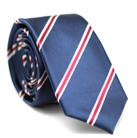 Stripe Skinny Tie Dark Blue with Red & White Line