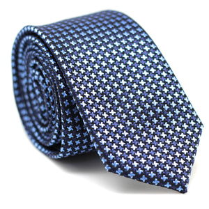 Houndstooth Skinny Tie Dark Blue with Black & Light Blue