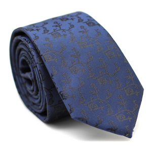 PAISLEY DARK BLUE WITH FLOWER SKINNY TIE