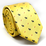 Skinny Tie Yellow with Dog Pattern
