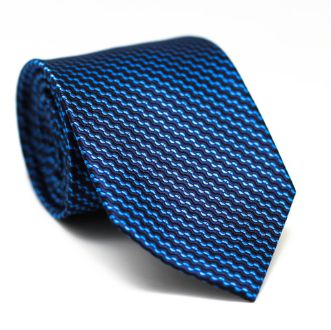 Zig Zag Regular Tie Dark Blue with Light Blue Line