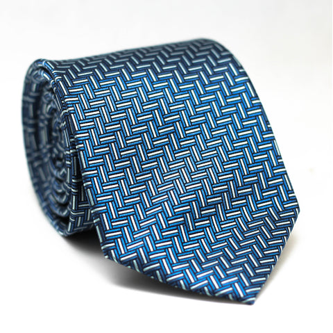 Zig Zag Blue with White Regular Tie