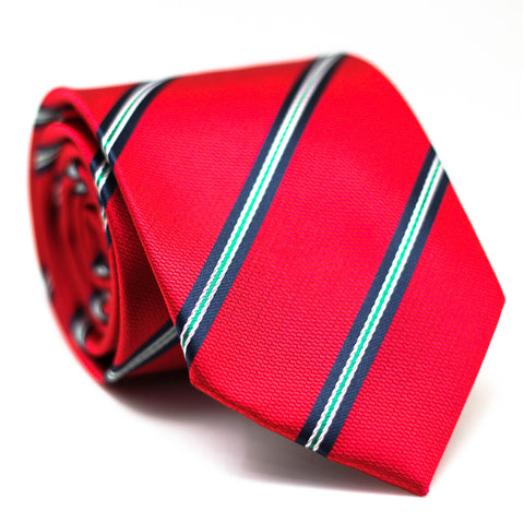 Stripe Regular Tie Red with Blue and White Line