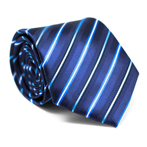 Stripe Dark Blue with Light Blue and White Regular Tie